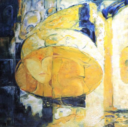 head, mood, feelings, yellow, blue,landscape,ART_499_13341,Artist : MAHESHKUMAR JADHAV,Oil