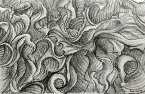 Abstract Expressionism. pencil,Flowers in our Minds,ART_1677_13940,Artist : Kaustav Mukherjee,Pencil