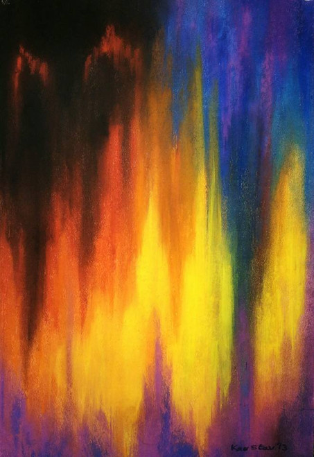 Colorfield. Abstract Expressionism,Red blue and yellow,ART_1677_13938,Artist : Kaustav Mukherjee,Pastels