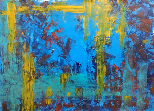 Abstract Expressionism. Knife Painting.,Blue Exterior,ART_1677_13937,Artist : Kaustav Mukherjee,Acrylic