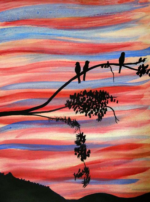 birds, sunset, sky shades,Sunset,ART_1664_13921,Artist : SHAILEYEE  DAS,Poster Colors