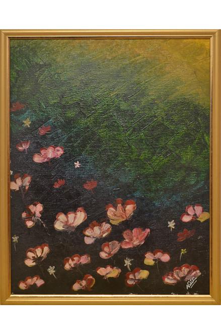 flower, abstract, green, forest, bloom, sunshine, light, dark,Bloomingdales,ART_1696_13969,Artist : Nikita Das,Oil