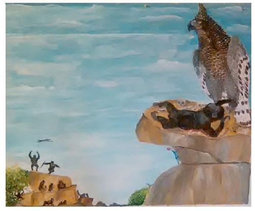 wildlife,A Born Killer - African Crowned Eagle,ART_1694_13966,Artist : Emmanuel Nwogbo,Oil