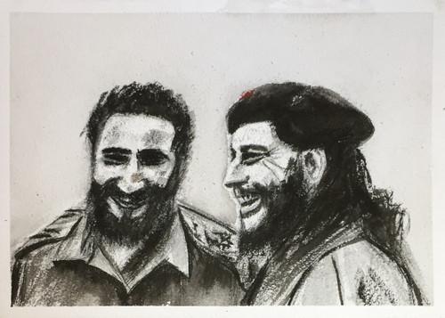 Che Guevera, Fidel Castro, comandante, Cuba, Revolution, Not a bed of roses, Refuse, Resist, Comrade, Heaven,Revolution in the Skies,ART_1684_13901,Artist : Sandeep Pranoy,Mixed Media