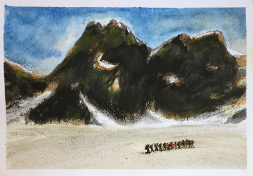 Mountains, Snow, Chaddar, Frozen, Expedition, Mountaineers, Guts, Glory, feat, Altitude, Breathe,Expedition Unstoppable,ART_1684_13893,Artist : Sandeep Pranoy,Water Colors