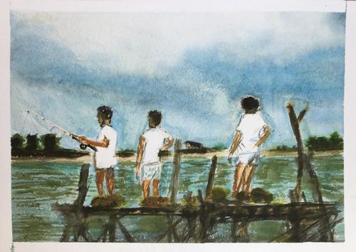 Kurt Kobain, Kurt, Nirvana, moods Grunge, rock Music, gone not forgotten,Village life friends and more,ART_1684_13877,Artist : Sandeep Pranoy,Water Colors