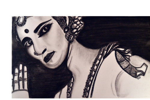 charcoal, bharatnatyam, dancer, black, white, grey,Bharatnatyam Dancer,ART_1696_13975,Artist : Nikita Das,Charcoal