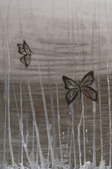 black, charcoal, butterfly, white, concrete jungle, rain,Butterfly in Concrete Jungle,ART_1696_13974,Artist : Nikita Das,Charcoal