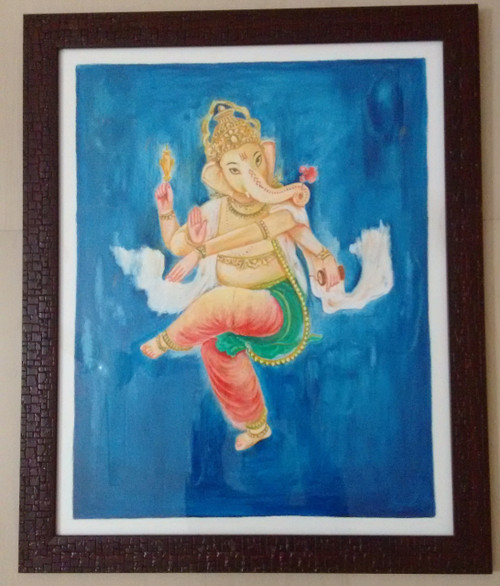 ,Dancing Ganesha,ART_1703_14014,Artist : Gopal Rao,Oil