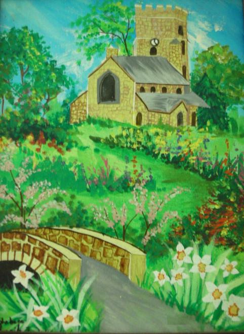 Church, garden , flowers ,trees,CHURCH,ART_1537_14082,Artist : Shabana  Rangila,Acrylic
