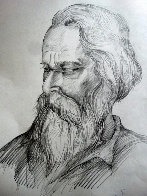 PORTRAIT, SIDE FACE, RABINDRANATH TEGOR,RABINDRANATH TEGOR,ART_1664_14084,Artist : SHAILEYEE  DAS,Pencil