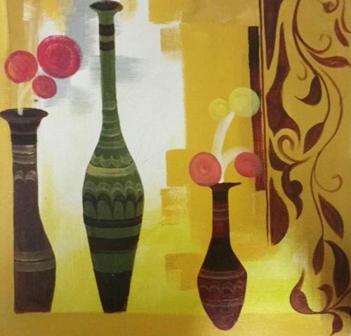 ,Vase of Colorful Flower,ART_1700_14102,Artist : Kraftsland India Corp,Acrylic