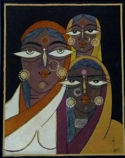 Tribal, Women,Traditional,Tribal Women,ART_1688_13926,Artist : ANJU AGRAWAL,Oil