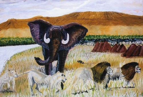 wildlife,Rage of A Bull Nomad Elephant,ART_1694_13985,Artist : Emmanuel Nwogbo,Oil