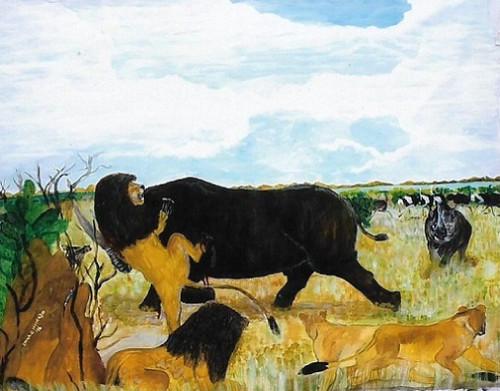 wildlife,Lion Dethroned,ART_1694_13964,Artist : Emmanuel Nwogbo,Oil