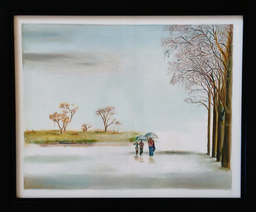 ,With Mother in Raining,ART_1703_14016,Artist : Gopal Rao,Oil