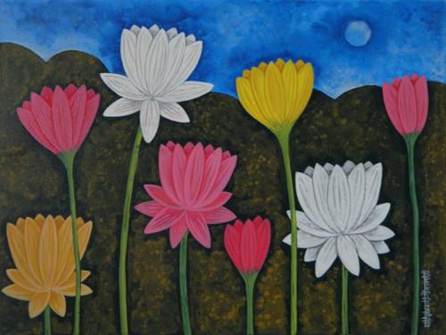 Lotus,LotusCSH0023 ,ART_223_14171,Artist : Chandru S Hiremath,Acrylic
