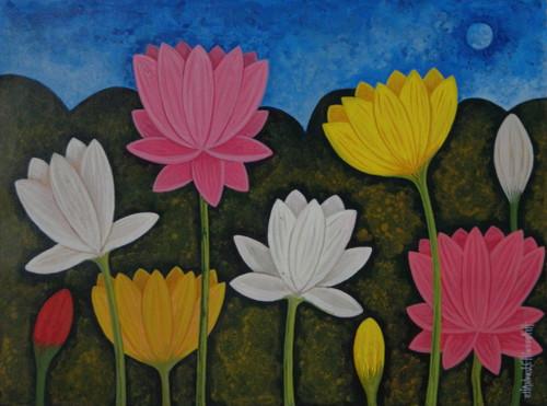 Lotus,LotusCSH0022 ,ART_223_14170,Artist : Chandru S Hiremath,Acrylic