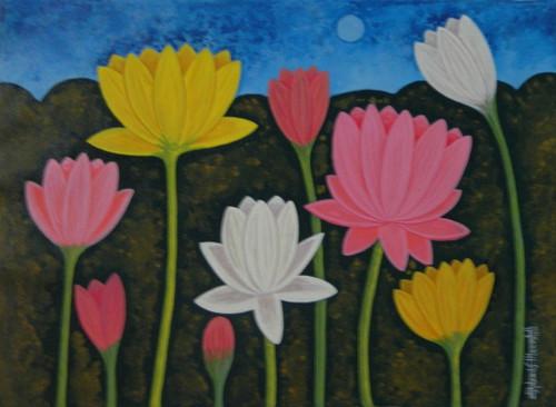 Lotus,LotusCSH0021 ,ART_223_14169,Artist : Chandru S Hiremath,Acrylic