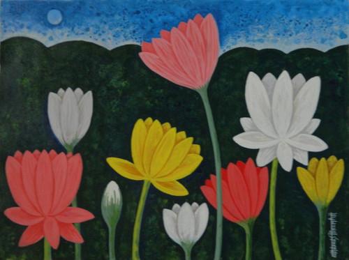 Lotus,LotusCSH0020 ,ART_223_14168,Artist : Chandru S Hiremath,Acrylic