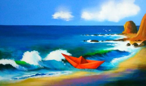 Seascape, Nature, Journey, waves,Voyage Of Paper Boat,ART_1725_14165,Artist : SANTANU MAITY,Acrylic
