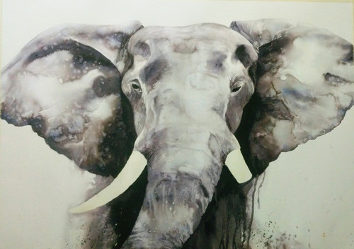 Ganesha, Elephant, GOD, Watercolor, Monocrome,The Elephant,ART_1725_14163,Artist : SANTANU MAITY,Water Colors