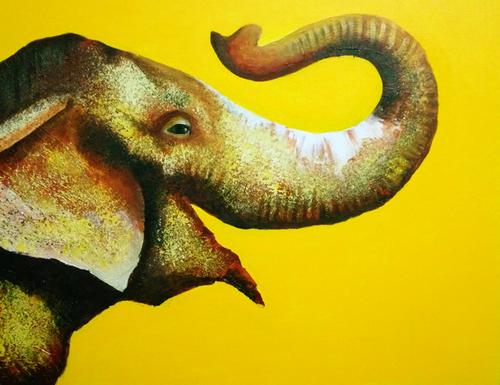 Lord Ganesha, Elephant GOD, Elephant, Holy, Wildlife,The Holy Elephant,ART_1725_14162,Artist : SANTANU MAITY,Acrylic
