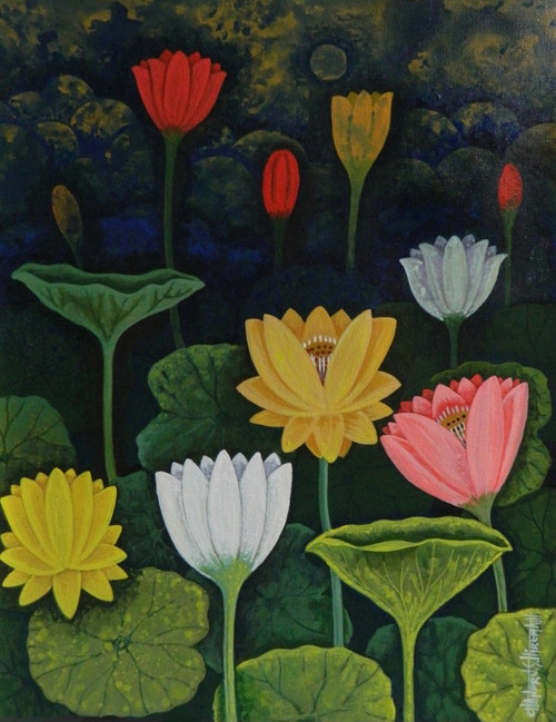 Lotus,LotusCSH0017,ART_223_14155,Artist : Chandru S Hiremath,Acrylic