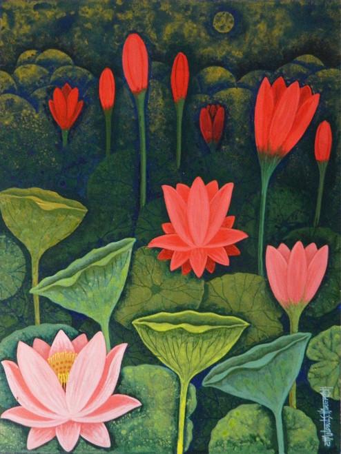 Lotus,Lotus CSH0015,ART_223_14153,Artist : Chandru S Hiremath,Acrylic