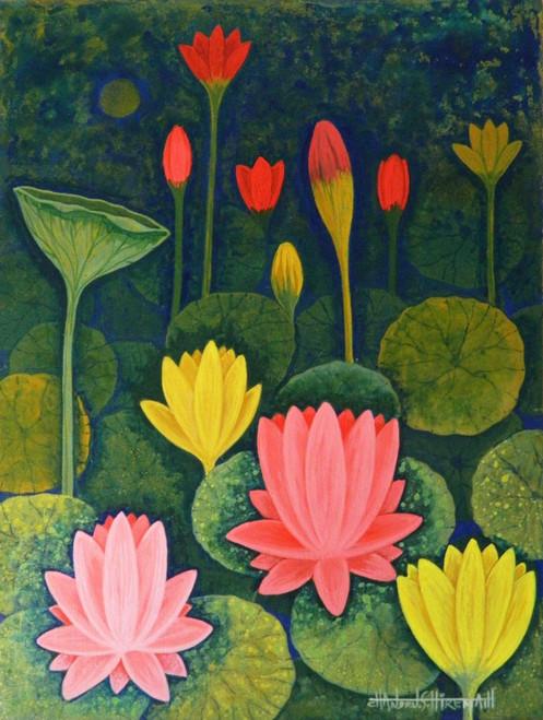 Lotus,Lotus CSH0014,ART_223_14152,Artist : Chandru S Hiremath,Acrylic