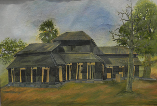 REALITY,Black house in santiniketan,ART_1709_14188,Artist : RAKA PANDA,Water Colors