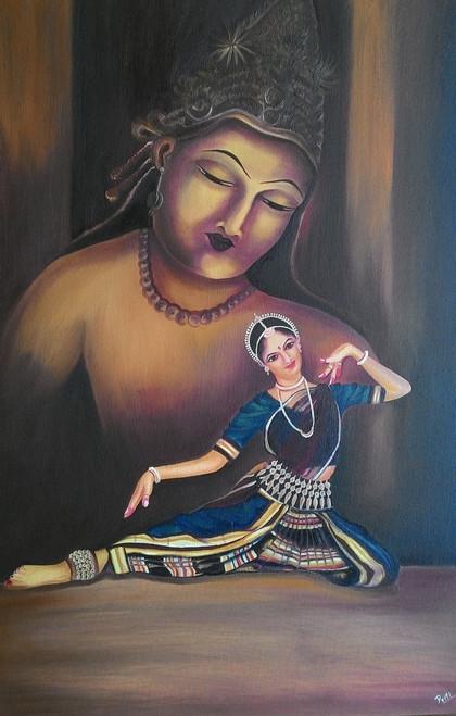 Dance,Dancing Ahalya,ART_1729_14211,Artist : PRITI PARDESHI,Oil