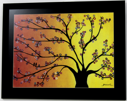 Abstract Orange Tree Handpainted Painting,Abstract Tree Handpainted Art Painting,ART_1461_14241,Artist : Bhoomi Patel,Oil