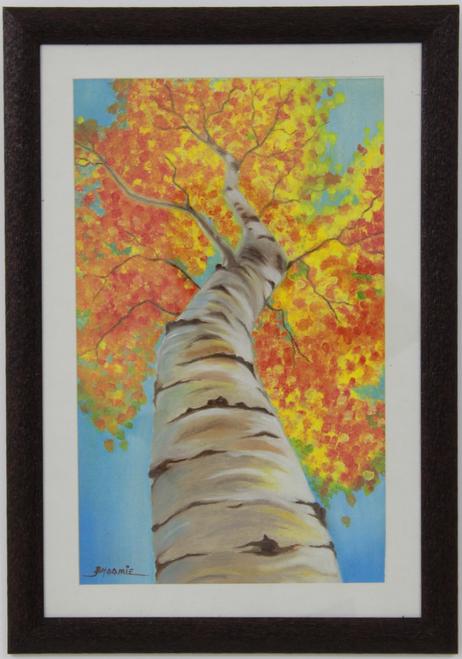 3D golden yellow birch tree handpainted painting,Abstract 3D Golden yellow Birch Tree Handpainted Painting,ART_1461_14240,Artist : Bhoomi Patel,Oil