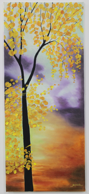 abstract tree gloden leaves painting,Autumn Abstract Tree Handpainted Painting,ART_1461_14238,Artist : Bhoomi Patel,Oil