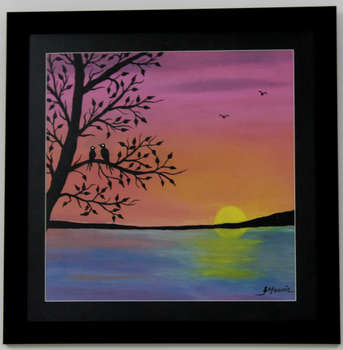 Seascape birds tree painting,Seascape Sunrise Handpainted Painting,ART_1461_14249,Artist : Bhoomi Patel,Oil