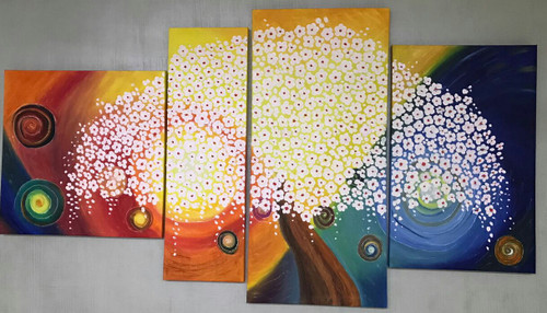 abstract palette knife tree painting for living room,Abstract palette knife painting for leaving room,ART_1461_14248,Artist : Bhoomi Patel,Oil