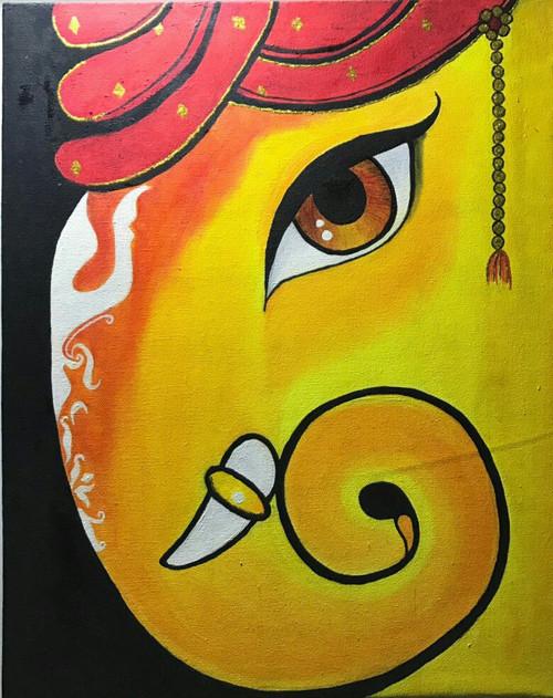 yellow orange sideface ekdant ganesha ,Lord Ganesha Handpainted Art Painting,ART_1461_14247,Artist : Bhoomi Patel,Oil
