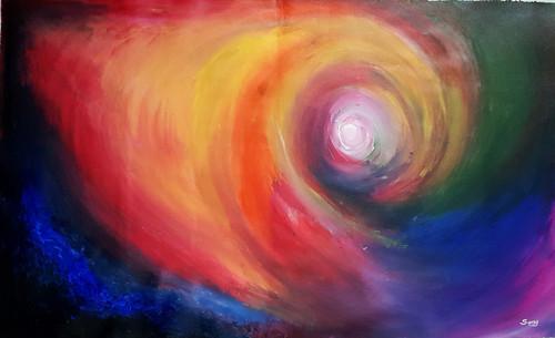 space, cosmos, origin, birth, colourful ,the origin,ART_1734_14245,Artist : Suraj Prajapati,Acrylic