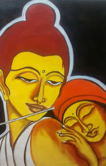 Krishna in love,Krishna and radha in love,ART_1552_13219,Artist : Nidhi Jain,Oil