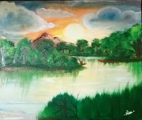 sunrise,forest,oil painting,nature,beauty,Sunrise in midst of forest,ART_1622_14286,Artist : Neeraja Yanamandra,Oil