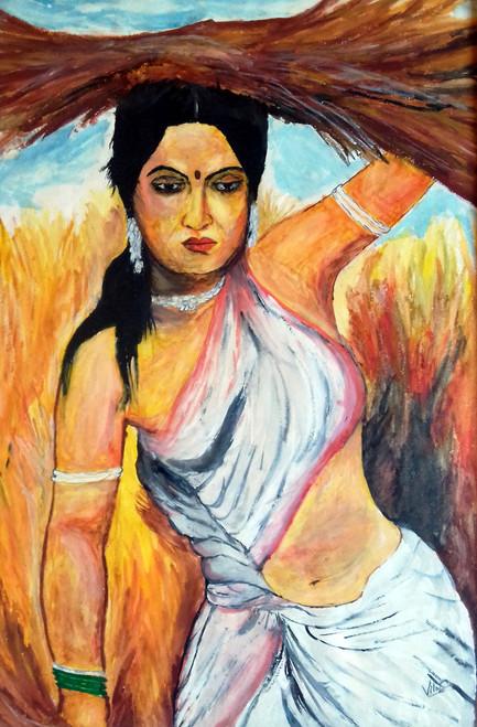 Tribal women,Tribal rural women,ART_1739_14280,Artist : Ravi Borade,Oil