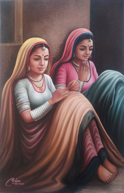 rajasthani, lady,Two Lady,ART_1090_14418,Artist : Mohan Verma,Oil