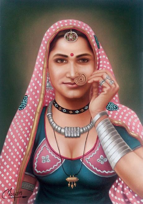 rajasthani, lady,Rajasthani Lady,ART_1090_14416,Artist : Mohan Verma,Oil
