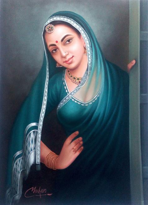 rajasthani, lady,Rajasthani Lady,ART_1090_14413,Artist : Mohan Verma,Oil