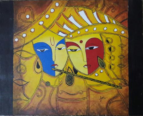 Krishna, Radha, Lord, God, Religious, Hinduism, Modern,Devotion,ART_1688_14409,Artist : ANJU AGRAWAL,Acrylic