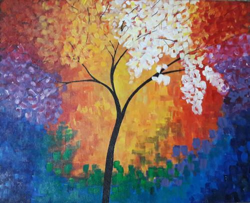 Colours, Tree, Colourful, Modern,Colours Unite,ART_1688_14408,Artist : ANJU AGRAWAL,Acrylic
