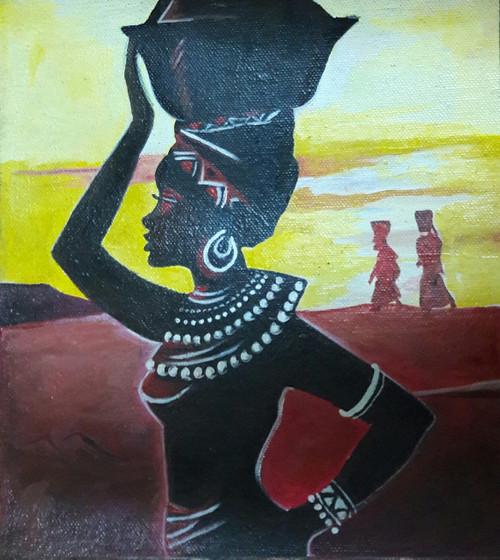 Woman, Tribal, Desert, African, Traditional, Village,African Woman,ART_1688_14407,Artist : ANJU AGRAWAL,Acrylic