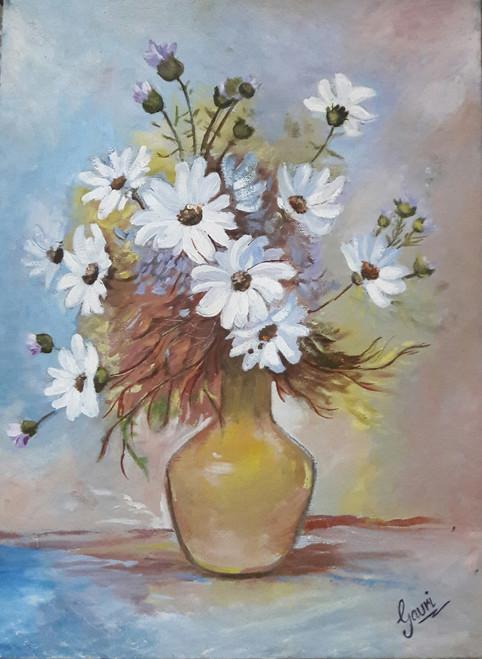 Flowers, Colorful, Color, Vase, Pot, Bunch, Roses, White Flowers,Beautiful Floret,ART_1688_14405,Artist : ANJU AGRAWAL,Oil