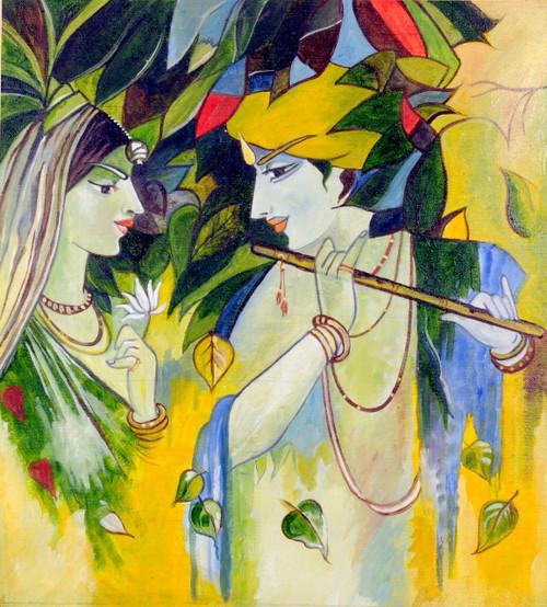 Krishna, Radha, Love, Bond, God, Goddess, Lord, Religious, Hindu, Hinduism, Colorful,Eternal Love,ART_1688_14403,Artist : ANJU AGRAWAL,Oil